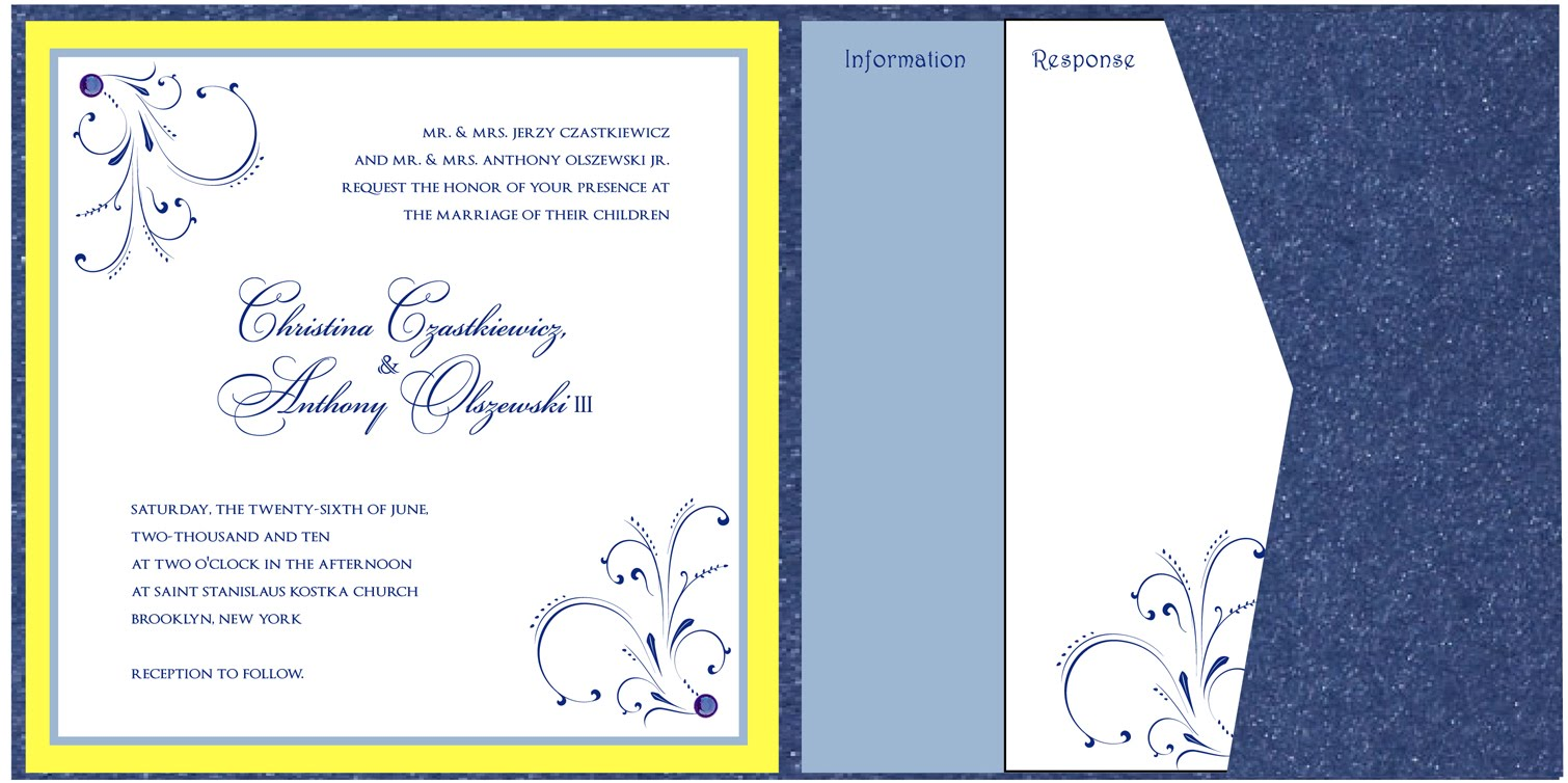 sapphire blue and yellow wedding invitations –