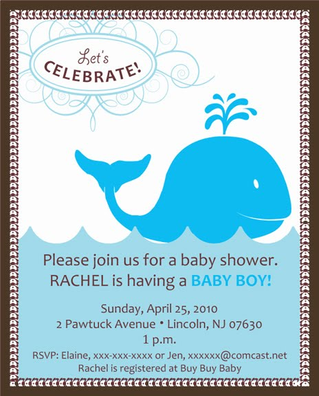 whale theme baby shower invitations